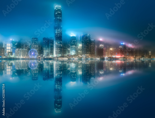 Skyline of Hong Kong in mist from Kowloon, China Fototapete