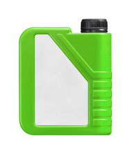 Green Plastic Jerry Can Isolated