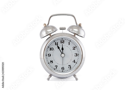 Old style alarm clock with clipping path on white background