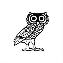 Owl Illustration Logo Vector, Owl Of Athena Vector