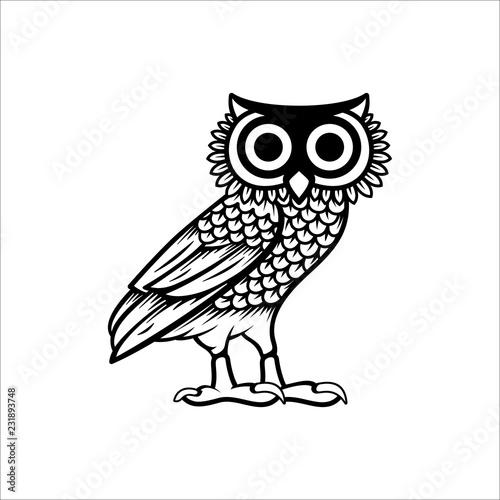 Owl illustration logo vector, owl of athena vector Wallpaper Mural