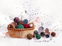 Knitting On White Background, Watercolor Illustration. Needlework.