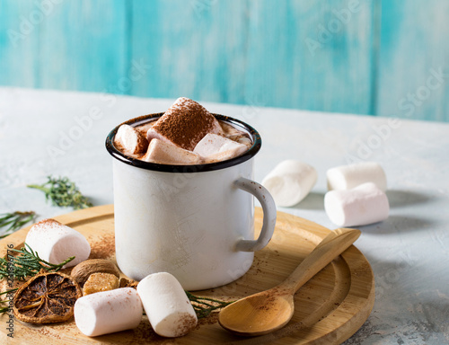 cocoa marshmallows mug cup vintage background