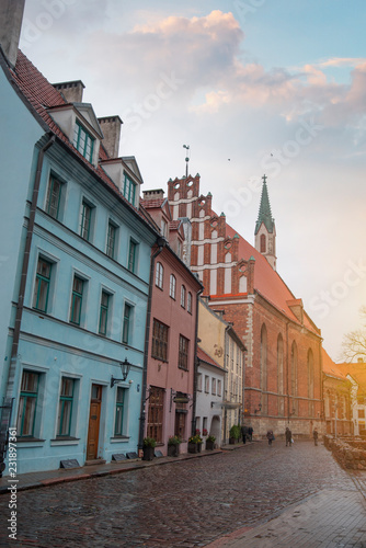 Wall Murals Bridges old houses on Riga street. Latvia