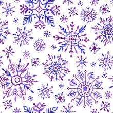 Watercolor Snowflakes Seamless Pattern. Purple Snowflakes On A White Background.