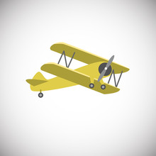 Yellow Biplane Aircraft On Whi...