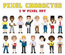 Pixel Characters I Love Art Ve...