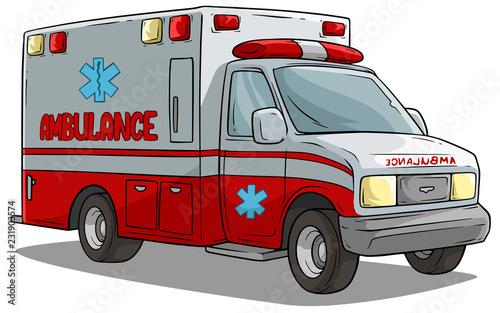 Cartoon ambulance emergency car or truck Wallpaper Mural