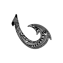 Hand Drawn Hawaiian Fish Hook Logo Design Inspiration