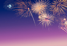Colourful Fireworks On Blue, P...