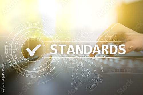 Leinwand Poster Standards, Quality Control, Assurance, ISO, Checkbox on virtual screen