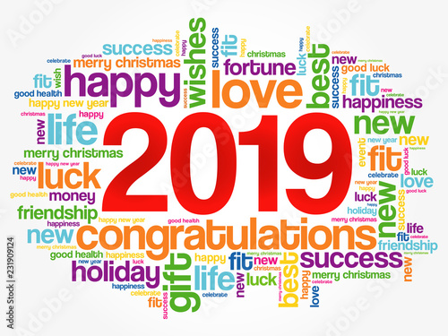 Foto op Plexiglas Hoogte schaal 2019 year greeting word cloud collage, Happy New Year celebration greeting card