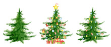 Merry Christmas Watercolor Trees Collection Happy New Year Card, Posters.