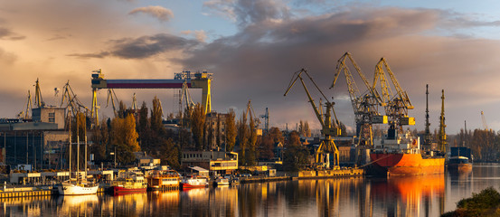 Szczecin, Poland-November 2018: A view of the repair shipyard and the quay in Szczecin