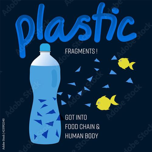 Fotografie, Obraz  Typographic design, outline flat symbols of bottled water with widespread plastic fragments
