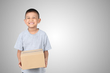 Asian Kid Holding Empty Cardboard Box Isolated On White Background