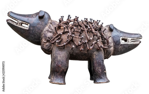 Double headed sculpture made of wood, rope and nails Canvas Print