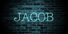 First Name Jacob In Blue Neon On Brick Wall