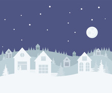 Merry Christmas And Happy New Year. A Small Winter City. Paper Art In Digital Style. Vector Illustration.