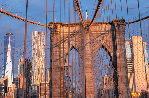 Tuinposter New York City Brooklyn Bridge in New York. USA