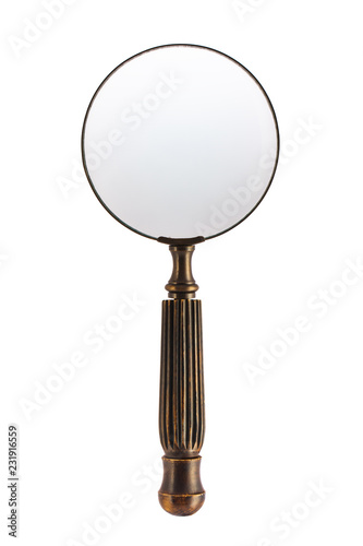 Old Magnifying Glass Isolated On White Background with copy space for your image or text