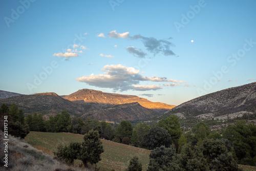 Deurstickers Blauw Teruel landscape with motorising