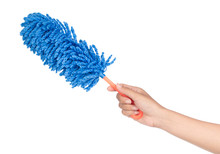 Hand Holding Blue Duster Microfiber For Cleaning The House Isolated On White Background