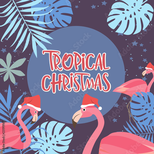 Tropical Christmas poster with flamingo. Merry Christmas greeting or invitation card. Editable vector illustration