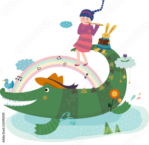 Printed kitchen splashbacks Castle crocodile and playing pipe girl