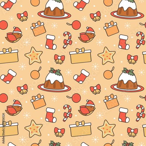 cute cartoon christmas elements seamless vector pattern background illustration