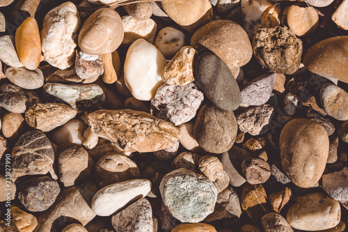 Pebbles. Smooth river stones.