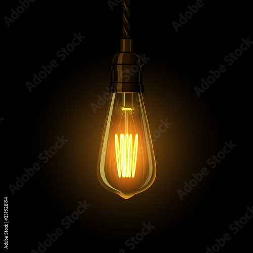 Photo  Realistic glowing lamp hanging on the wire