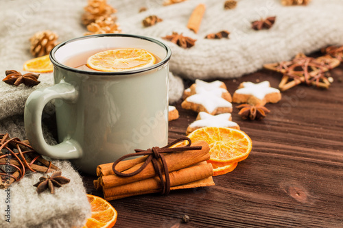 Winter and New Year theme. Christmas tea with spices