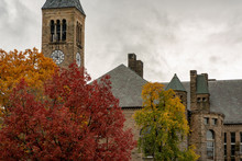 Buildings At Cornell University During Peak Fall Time With Autumn Colors In Ithaca, New York