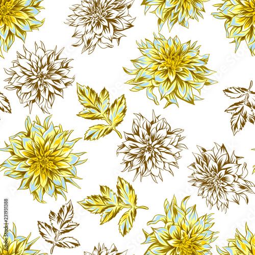 Photo Seamless pattern with fluffy yellow dahlias.
