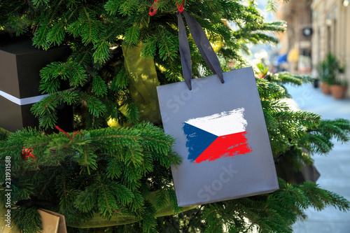 Photo  Czech Republic flag printed on a Christmas shopping bag