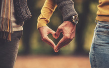Couple Making Heart Shape With Hands. Love, Dating, Romance