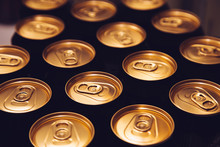 Metal Beer Cans Background Black Gold