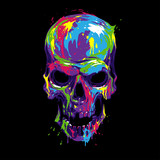 Fototapeta Młodzieżowe - Skull in color paint