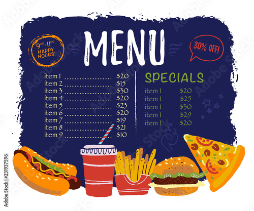 Vector Menu Design Template With Menu Items Fast Food Snack