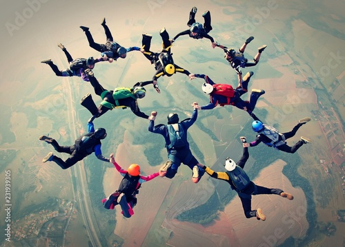 Skydivers team work photo effect Canvas Print