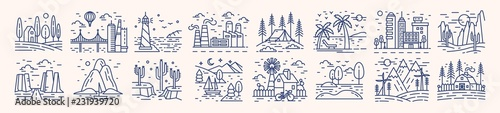 Canvas Prints White Collection of picturesque landscape icons or symbols drawn with contour lines on light background. Bundle of beautiful linear natural sceneries. Monochrome vector illustration in lineart style.
