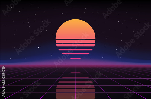 Retro Sci-Fi Background. Futuristic Vector illustration in 80s posters style.