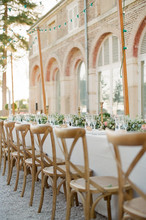 Outdoor Burgundy Wedding Recep...