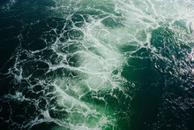 View From Above Of Churning Ocean Water