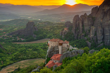 Holy Monastery Of Roussanou At Sunset, Meteora Monasteries, Greece