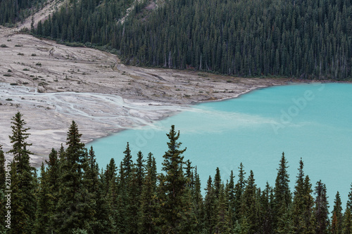 Glacier mineral water running into a mountain lake