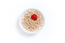 Oat Rings Cereal With Strawberry. Bowl Of Cereal With Berries On A White Background. Flat Lay, Top View