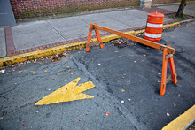 Barrier On The Pavement During Repairs. Road Closed Sign In The Street