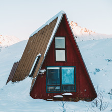 Bright Red Hatcher Pass Cabin